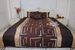 Silk Dupion Queen Size Bed Sheet with Cushion Cover
