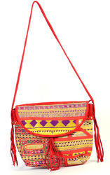 Handmade Red Color Full Leather Full Embroidery Bag