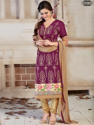 Purple Designer Cotton Silk Dress Material