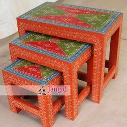 Jangid Art and Crafts Wood Indian Wooden Painted Stool Set