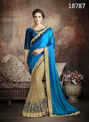 Chiffon Heavy Embroidery Saree with Blouse Piece