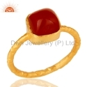Natural Red Onyx Gemstone Gold Plated Ring