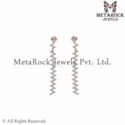 14K Rose Gold Pave Diamond Bar Earring