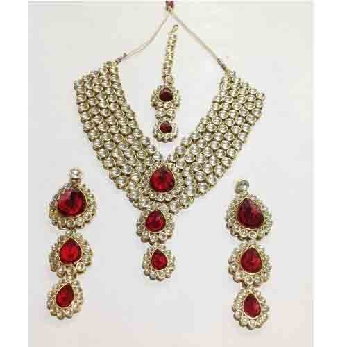 c4c7012aed9 Red Stone Heavy Necklace at Rs 3490  set