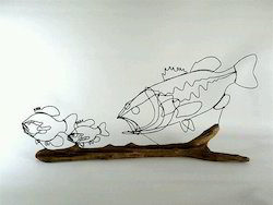 Fishes Arts In Wire Metal Art