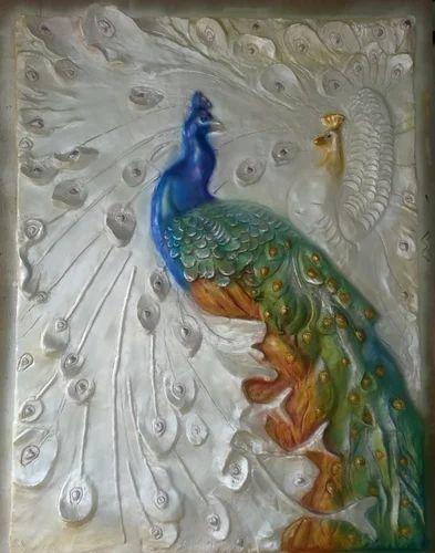 FRP Fibre Peacock Wall Mural Rs 50000 piece Om Interiors