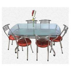 Bhopal Steel Stainless Steel Glass Dining Table