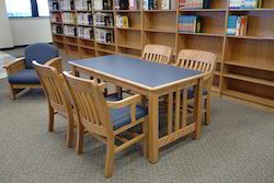 Wooden Library Table With Chair