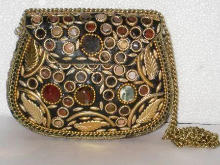 Female Ethnic Handmade Golden Beaded Metal