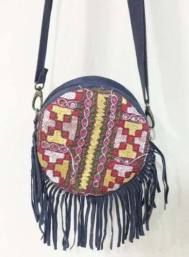 Vintage Banjara Bag Tribal Round Fringe Clutch Bag