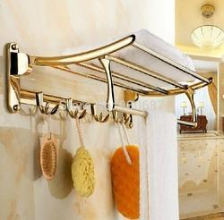 Gold Finish Bathroom Folding Rack