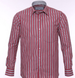 Red Formal Shirt With White And Black Lining
