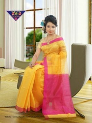 6.5m Casual Pure Silk Handloom Saree, With Blouse Piece