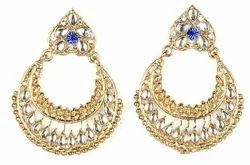 Jewelmaze Kundan Chandbali Earrings
