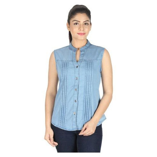 93d2cd21d0c9 Ladies Sleeveless Denim Shirt, Size: S To XL, Rs 460 /piece | ID ...