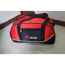 326bca9575f6 Polyester Black And Red Promotional Duffle Bag