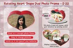Red Plastic Rotating Heart Shape Dual Photo Frame
