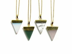 Gemstone Triangle Shape Pendant Necklace