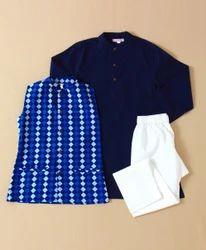 Kurta Pajama With Jacket Navy Blue