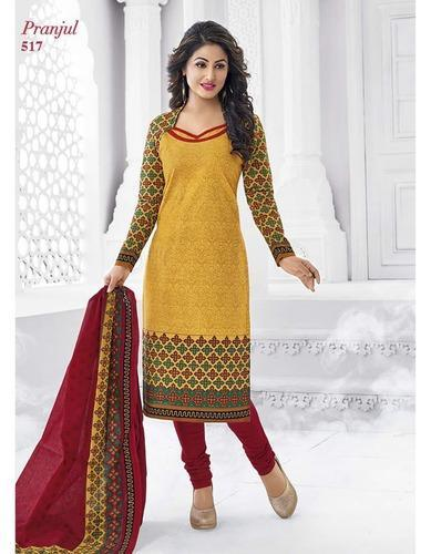 9cba409468f3 Cotton Yellow Printed Hinakhan Unstitched Dress Material, Rs 399 ...