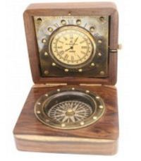 Prachin Compass With Table Clock Clock