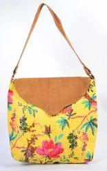 Handmade Yellow Color Katha Work Leather Flap Bag