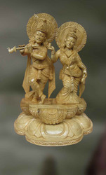 Wood Sculpture Of Radha And Krishna