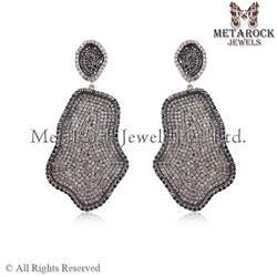 Pave Diamond Starburst Design Earring