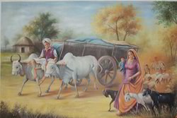 Indian Village Painting, Size: 36''x48''