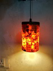 Cylindrical Wooden Hanging Light