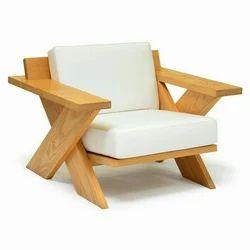 Wooden (Frame ) Modern Designer Single Seater Sofa, Living Room, Seating Capacity: 1 Person
