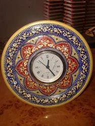 Marble Clock Embossed Golden Painted Work.