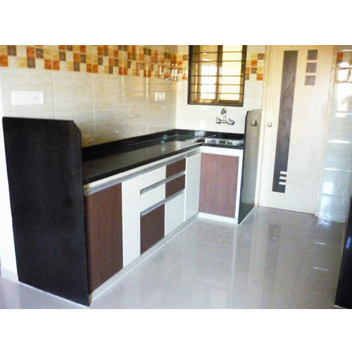 Straight Modular Kitchen 8 Square Modular Kitchens: Modular Kitchen With G Handle Profile, 8 Square Modular
