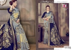 Party Wear Silk Saree, Length: 5.5 m with Separate Blouse Piece
