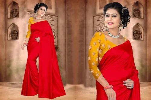 8d6585e266 Georgette, Silk Party Wear Plain Mulberry Silk Saree, Rs 800 /piece ...