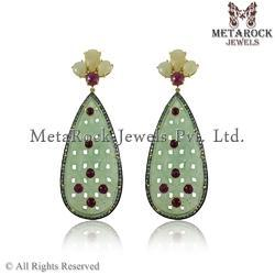 Mother of Pearl & Ruby Pave Diamond Earrings