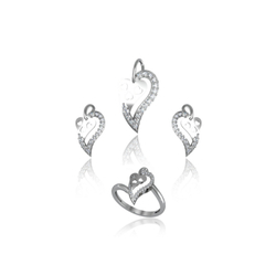 Ultra Shine Half Hearted Combo Set 925 Sterling Silver
