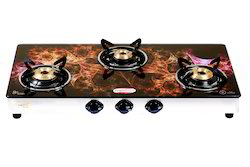 Brightflame 3 Burner Digital Glass Top Gas Stove, For Home