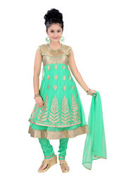 Tussar Silk Green Embroidered Churidar Suit For Girls