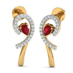 Maroon Stone  Diamond Earring