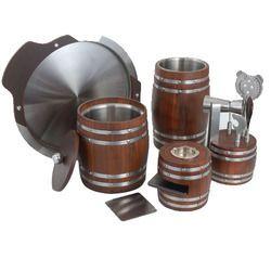 Teak Wood Steel Bar Set