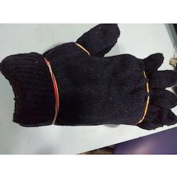 Navy Blue Cotton Knitted Gloves