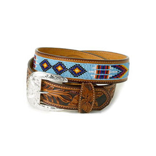 Brown Female Leather Beaded Belts