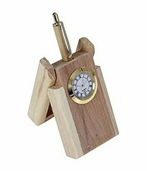 Brown Wooden Pen Stand With Clock