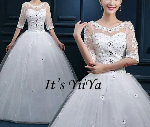 White Wedding Dress Mumbai: Long Sleeves White Wedding Gown Manufacturer