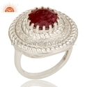 Round Sterling Silver Corundum Ruby Gemstone Ring Jewelry