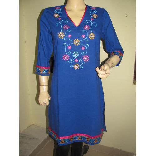 e01bfa709c4 V Neck Embroidered Designer Kurti