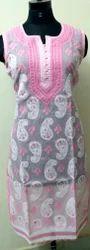Cotton Sleeveless Embroidered Straight Kurti