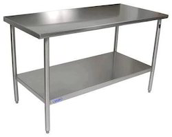 SS Rectangular Work Table With Under Shelve For Restaurant