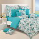 White And Skyblue Jindal Worldwide Fancy Floral Printed Bed Sheet